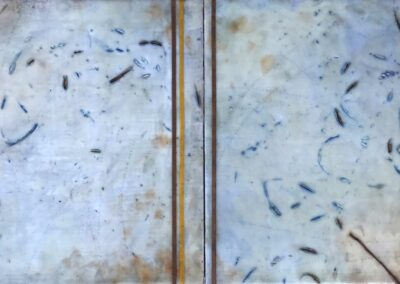 Left in the Stream (diptych)12 x 12 each Encaustic and oil on Panel by Stacy Nixon - Contemporary Fine Art