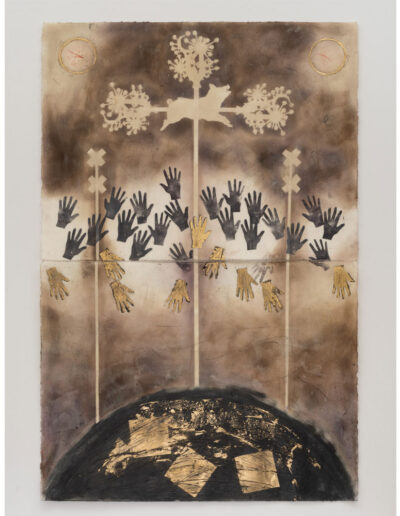 The Gods that Feed Us - 40x26 (Diptych)  Encaustic with Graphite and 21K Gold Leaf on Rives BFK Paper