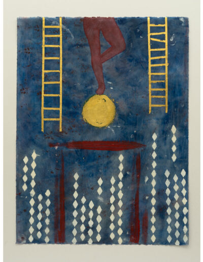The High Wire - 26x20 Encaustic with Pigment and 22K Gold Leaf on Rives BFK Paper